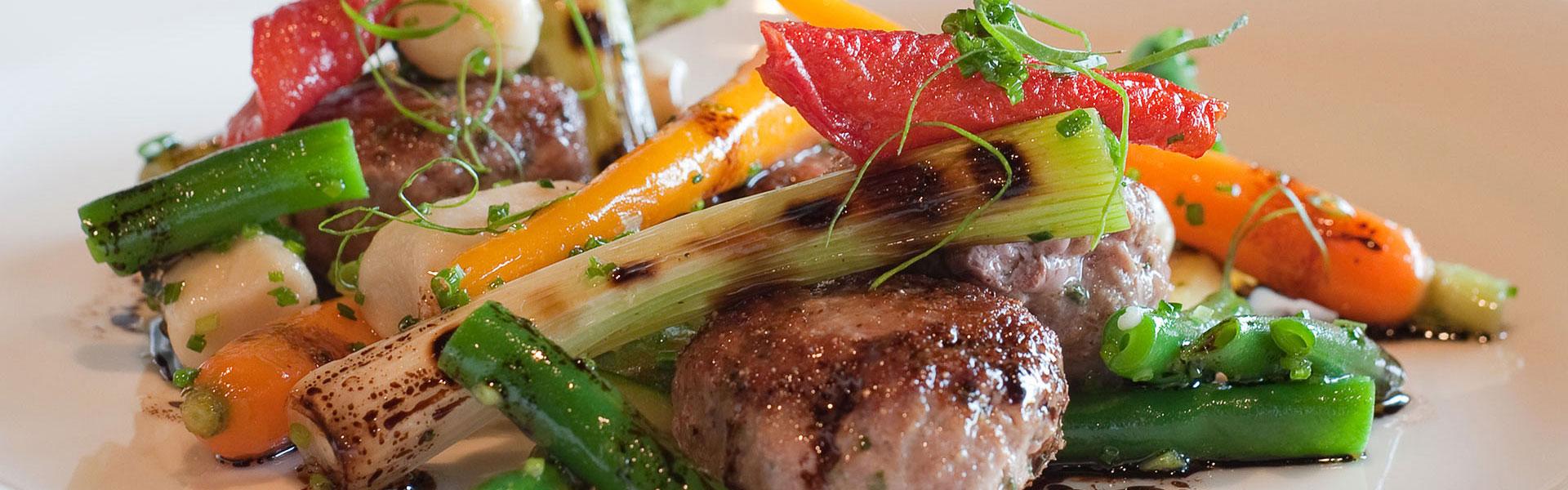Pork Meat Balls and roast vegetables